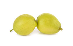 Chinese pear with stem on white Stock Images