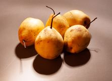 Chinese pears with shadows stock photography