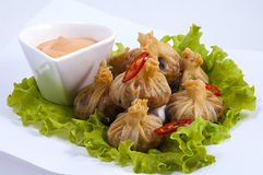 Chinese pelmeni. The Chinese pelmeni with salad and sauce on a white dish Stock Images