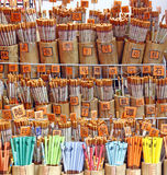 Chinese pencils. An image of a stack of bamboo Chinese pencil with Chinese characters royalty free stock photography