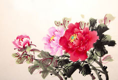Chinese peony ink drawing.  Stock Photography