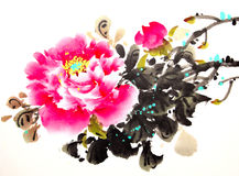 Chinese peony ink drawing.  Royalty Free Stock Photography