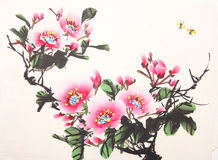 Chinese peony ink drawing. Hand drawn on paper Royalty Free Stock Image