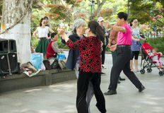 Chinese people dancing outdoors Royalty Free Stock Images