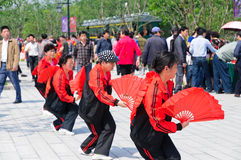 The Chinese people fan dancing in the park Stock Photo