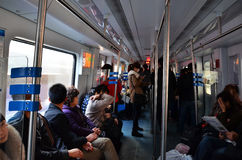 Chinese people in light rail Royalty Free Stock Images