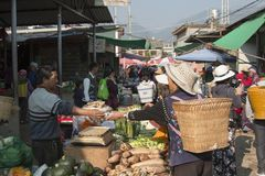 Chinese people in a local market in Xizhou close to Dali Old Town in Yunnan stock photo