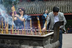 Chinese people in monastery Royalty Free Stock Photography