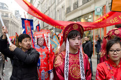 Chinese people during new year 2015 in Paris Royalty Free Stock Image