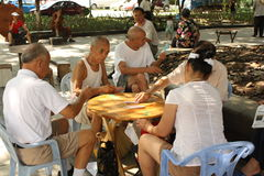 Chinese people play cards Royalty Free Stock Images
