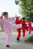 Chinese people are playing taiji royalty free stock photos