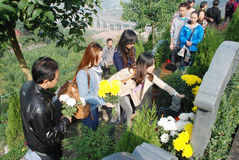 Chinese people Tomb sweeping. The Chinese Tomb-sweeping Day, also known as Qingming Festival, falls on April 5 every year Stock Photography