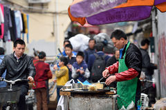 Chinese people trades traditional food Royalty Free Stock Images