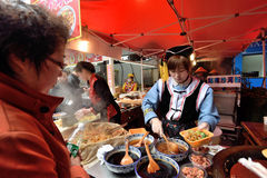 Chinese people trades traditional food Stock Photo