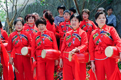 Chinese performing Waist Drum Dance Stock Image