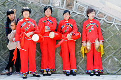 Chinese performing Waist Drum Dance Stock Photography