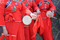 Chinese performing Waist Drum Dance Stock Photos