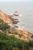 Chinese pergola on the sea coast in Macao Royalty Free Stock Photos