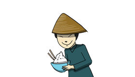 Chinese person, illustration. Chinese person with a rice dish, illustration Stock Photography