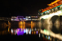 Chinese phoenix town at night Royalty Free Stock Photo