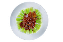 Chinese Pig Elbow in White Plate Royalty Free Stock Images