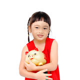 Chinese with pigbank Stock Images