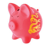 Chinese piggy bank. Red piggy bank with a chinese dragon pattern on it Royalty Free Stock Image