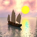 Chinese pirate ship Stock Images