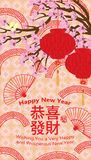Chinese plastic round lantern hang cherry rainbow Stock Images