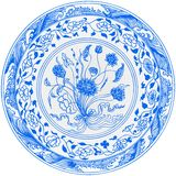 Chinese Plate. With a design of flowers Royalty Free Stock Images