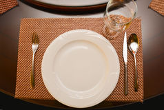 Chinese plate and cutlery on the turntable Stock Image