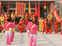 Chinese play drum and beat gong. Some Chinese get together to play drum and beat gong in adragon dance party to celebrate the lantern festival , ,taken on Royalty Free Stock Photography