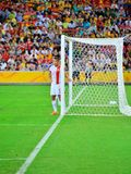 Chinese Player Protecting His Goal Stock Photography
