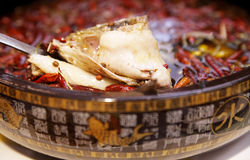 Chinese poached fish. Close-up of Chinese poached fish in the pot. Chinese Sichuan cuisine Stock Photos