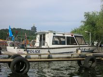 Chinese Police Boat. Sitting in marina royalty free stock images