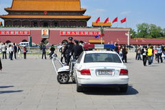 Chinese Police on patrolling Tiananmen Square Stock Image