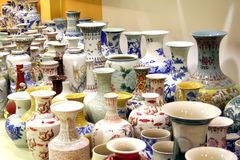 Chinese porcelain. Traditional chinese fine decorative porcelain vases and figurines Stock Photos