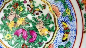Chinese Porcelain. Decorated with Butterflies and Flowers Stock Image