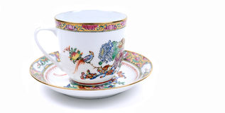 Chinese porcelain cup. Image of cup with beautiful Chinese painting on it stock photo