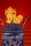 Chinese Porcelain Lion decoration Stock Photography