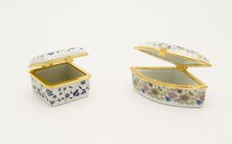 Chinese porcelain pillboxes Royalty Free Stock Photo