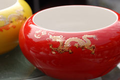Chinese porcelain  pot. With a gold dragon ,on display of Jindezhen porcelain ware Stock Images