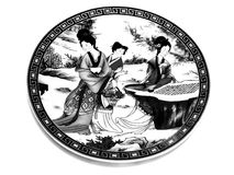 Chinese porcelain saucer BW Royalty Free Stock Photos