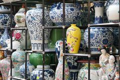 Chinese porcelain show. Chinese porcelain displaying for sale Royalty Free Stock Photos