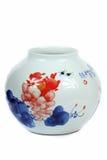 Chinese porcelain vase. Round frosted porcelain vase with traditional chinese painting,handmade classical craftsmanship,Jindezhen,Jiangxi china wares, ceramic Royalty Free Stock Photos