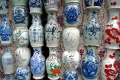 Chinese porcelain vases in Porcelain House in Tianjin royalty free stock image