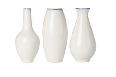Chinese porcelain vases of various shapes. On white background Stock Photo