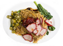 Chinese Pork Char Siu. Chinese spicy barbecued Pork Char Siu and Noodles Royalty Free Stock Photography