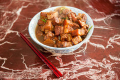 Chinese pork dish. Close up of a traditional Chinese style chopped pork dish stock photography