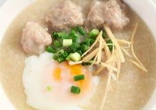 Chinese porridge. Traditional chinese porridge rice gruel in bowl Royalty Free Stock Photos